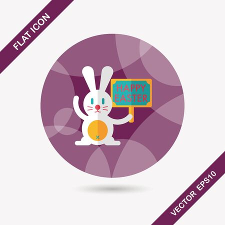 bunny ears: easter bunny flat icon with long shadow,eps10