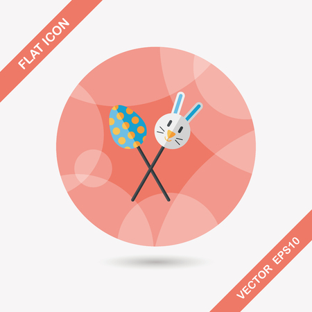 sucker: easter lollipop flat icon with long shadow,eps10