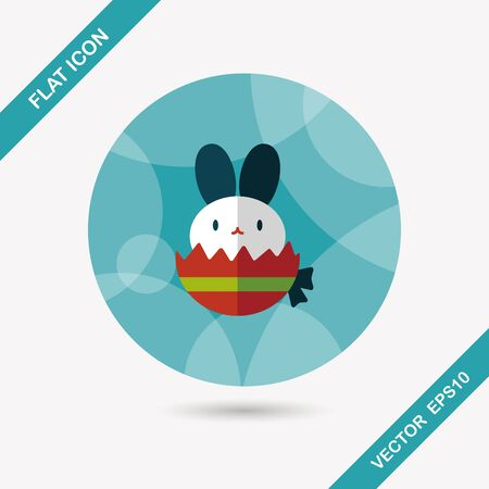 easter sign: easter bunny flat icon with long shadow,eps10