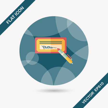 Cheque factura icono plana con una larga sombra, eps10 Foto de archivo - 37983262