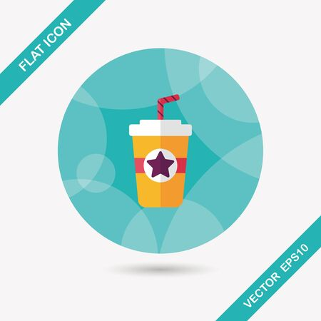 plastic straw: soda drink flat icon with long shadow,eps10