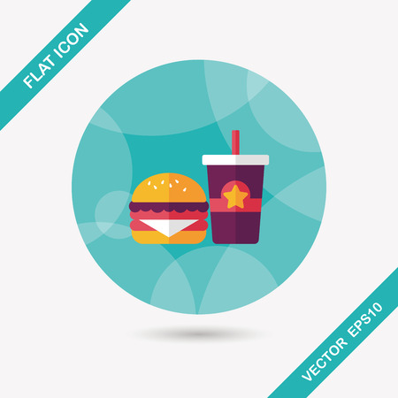 hamburger and soda flat icon with long shadow,eps10 Vectores
