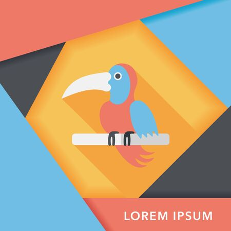 animal themes: Pet parrot flat icon with long shadow