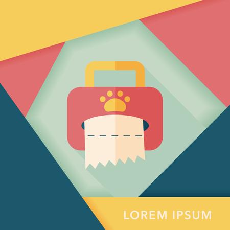 snuffelen: Huisdier stijl weefsel geval vlakke icoon met lange schaduw, eps10