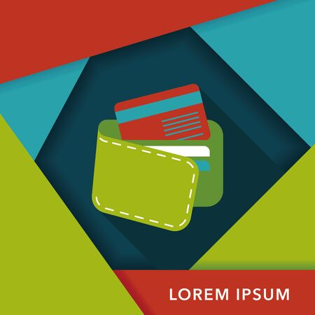 personal accessory: shopping wallet flat icon with long shadow,eps10 Illustration