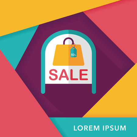 come: shopping store sale sign flat icon with long shadow,eps10