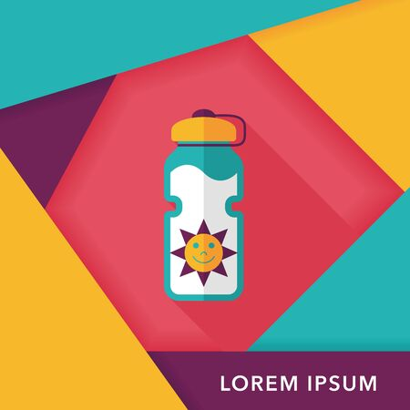 portability: sports water bottle flat icon with long shadow,eps10 Illustration