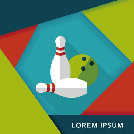 bowling strike: Bowling game flat icon with long shadow,eps10