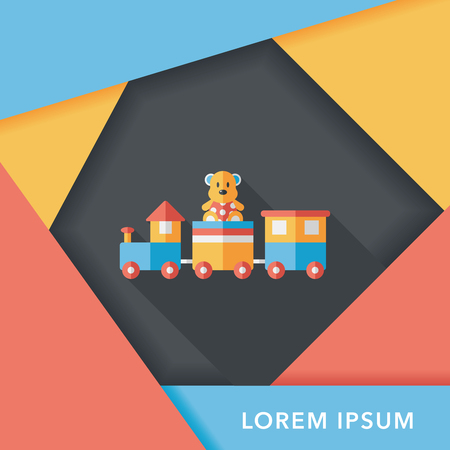 juguetes de madera: Icono plana Tren de juguete con una larga sombra, EPS 10