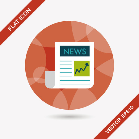 newsprint: financial news flat icon with long shadow,eps10