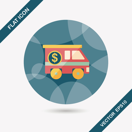 Armored car flat icon with long shadow,eps10 Vector