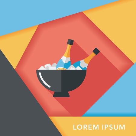 Ice bottle flat icon with long shadow,eps10 Çizim