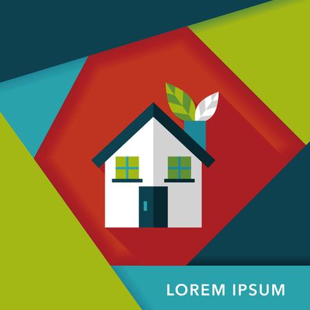 kassen: Bescherming van het milieu-concept flat icoon met lange schaduw, eps10; kassen; groene huis