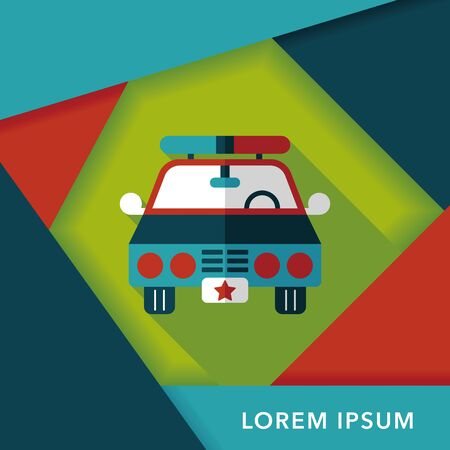 politieauto: Transportation police car flat icon with long shadow,eps10 Stock Illustratie