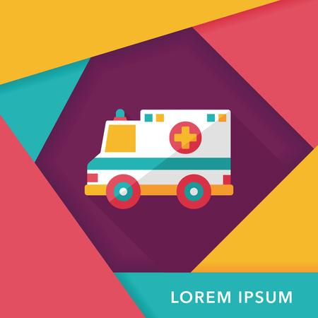 ambulancia: Icono plana ambulancia Transporte con una larga sombra, eps10 Vectores