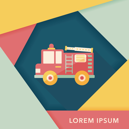 ladder safety: Transportation Fire truck flat icon with long shadow,eps10