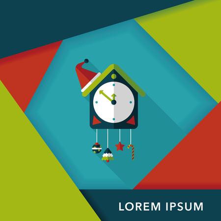 cuckoo clock: Icono plana reloj de cuco con larga sombra, eps10 Vectores