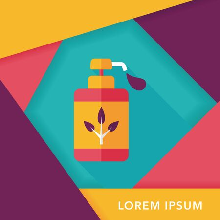 additives: Environmental protection concept flat icon with long shadow,No chemical additives cleaners. Illustration