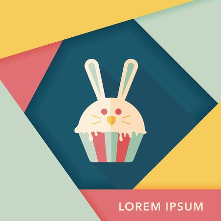 easter cupcake flat icon with long shadow,eps10 Vector