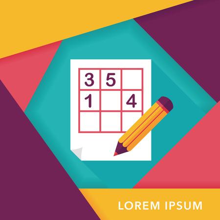 sudoku: Sudoku flat icon with long shadow,eps10