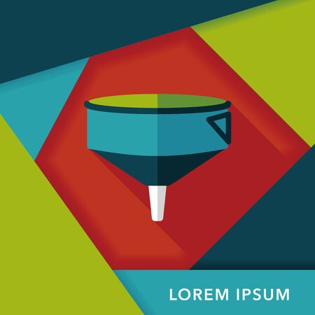 kitchenware funnel flat icon with long shadow Illustration