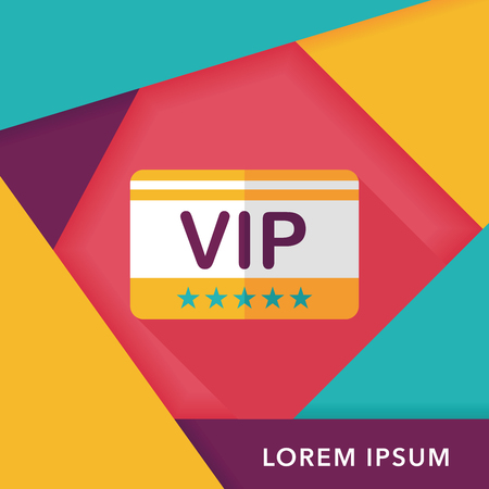 costumer: shopping vip card flat icon with long shadow