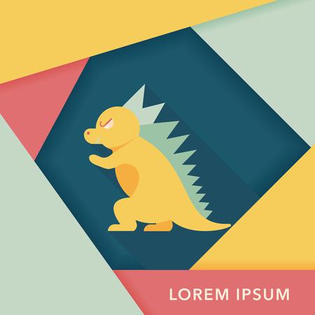 ascendant: Dinosaur flat icon with long shadow Illustration