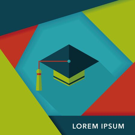 master degree: Education Cap flat icon with long shadow Illustration