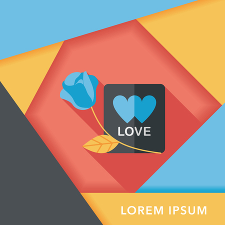 handwrite: Valentines day love letter flat icon with long shadow Illustration