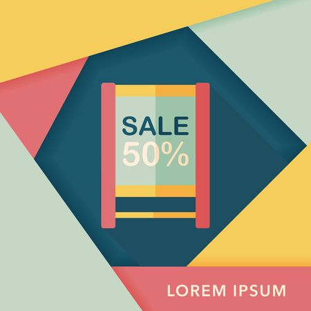 shopping sale sign flag flat icon with long shadow