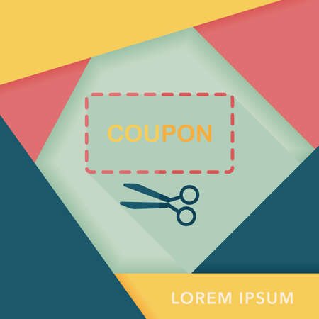 cutoff: shopping sale coupon flat icon with long shadow Illustration