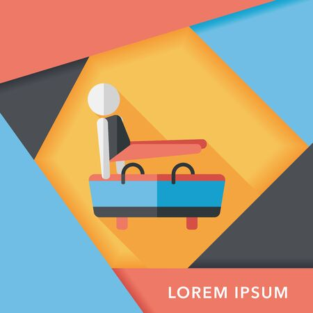 pommel: gymnastic pommel horse flat icon with long shadow