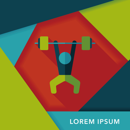 weightlifting: weightlifting flat icon with long shadow