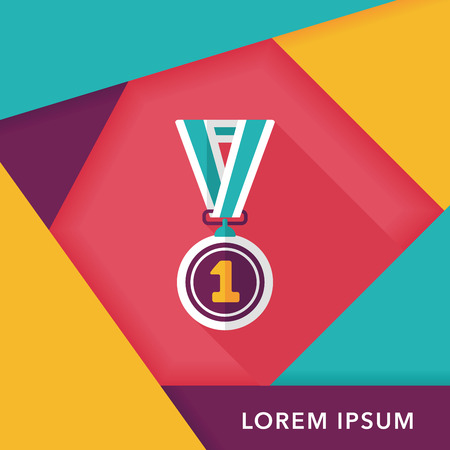 medal flat icon with long shadow