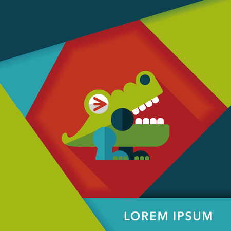 caiman: crocodile toy flat icon with long shadow,eps10 Illustration