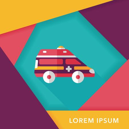 emt: Transportation ambulance flat icon with long shadow