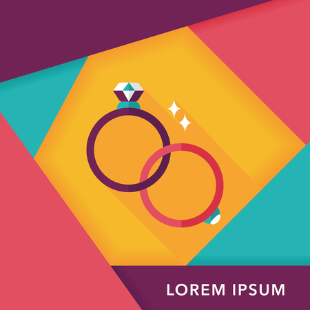 propose: Propose couple diamond ring flat icon with long shadow Illustration