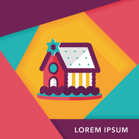 holiday villa: Gingerbread house flat icon with long shadow
