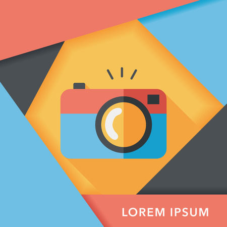 multiple exposure: camera flat icon with long shadow Illustration