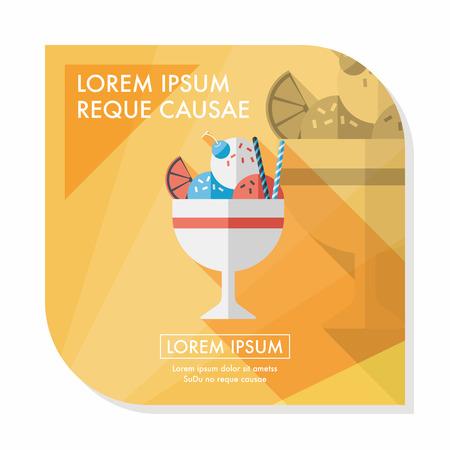 fudge: ice cream flat icon with long shadow