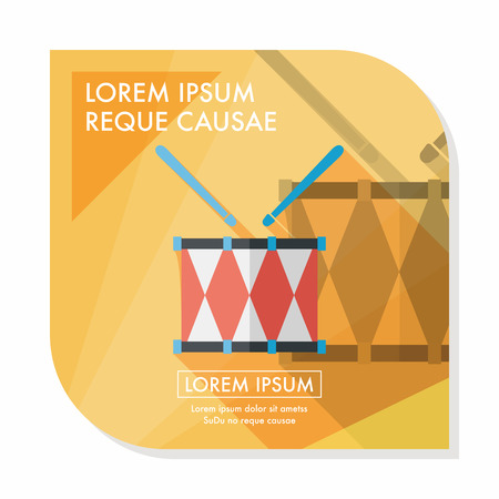 drumset: drum flat icon with long shadow Illustration