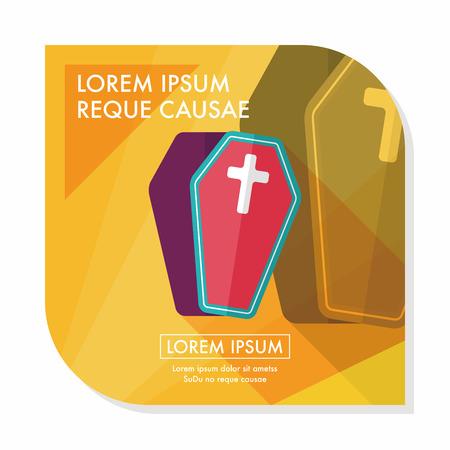 crematorium: coffin falt icon with long shadow