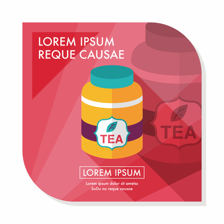 herbs boxes: tea canister flat icon with long shadow,eps10 Illustration