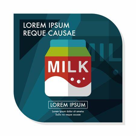 vacas lecheras: icono plana paquete de leche con una larga sombra