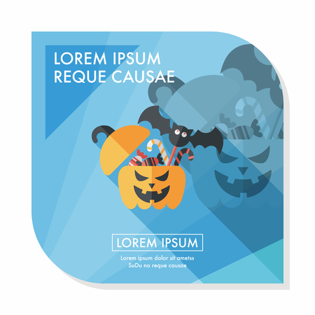 halloween pumpkin shaped box with candies flat icon Vector