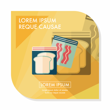 food preservation: kitchenware zipper bags flat icon with long shadow,eps10 Illustration