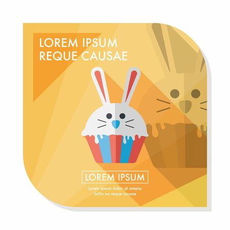 easter cupcake flat icon with long shadow Vector