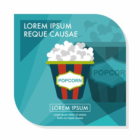 Popcorn flat icon with long shadow Vettoriali