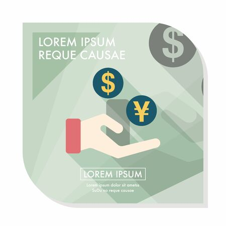 Currency Exchange flat icon with long shadow Illustration