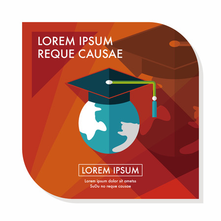 semester: e-learning flat icon with long shadow,eps10 Illustration